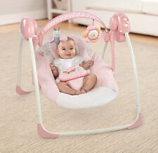 Baby Swing Set Portable Girls Cradle Rocker Pink Travel Electric Sleep Infants