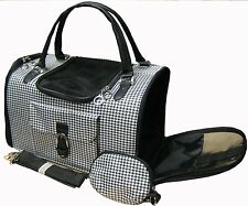 Hounds-tooth Pet Cat Animal Travel Carrier/Tote/Shoulder/Purse Black NEW - 369