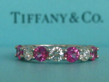 TIFFANY & CO. PLATINUM DIAMOND PINK SAPPHIRE SHARED SETTING WEDDING BAND RING 5