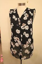 size 14 black chiffon v neck top flower detail dorothy perkins brand new