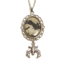Bats in flight necklace pendant silver Halloween Vampire gothic Dracula goth