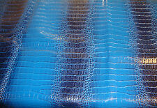 Royal Navy fake Leather vinyl Crocodile Nile embossed Faux upholstery fabric