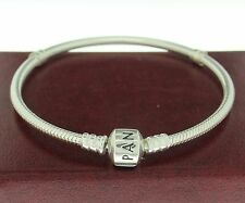 "Authentic Pandora 590702HV-18 7.1"" Barrel Clasp W/ Crown Sterling Snap Bracelet"