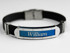 WILLIAM - Mens Silicone & Blue Name Plate Engraved Bracelet - Fathers Day Gifts