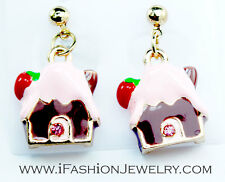 Cute Gingerbread House Bakery Food Cookie Drop Dangle Earrings Fashion Jewelry