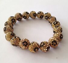 LEOPARD PRINT  STRETCHY SHAMBALLA BRACELET-17 x12mm DISCO BEAD -CZECH CRYSTAL-UK