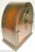 vintage GLORITONE MODEL 26P CATHEDRAL RADIO part:  WOOD SHELL & BRASS FACEPLATE
