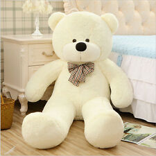 "Super Big Huge Giant 55""Stuffed Plush Tie White Teddy Bear Toy Animal Doll gift"