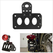 Black License Plate Bracket Side Mounting Tail Brake Lights Harley Bike Chopper