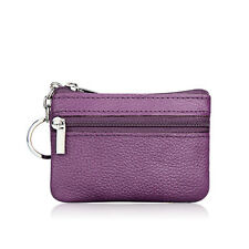 Womens Leather Small Coin Money Card Wallet Clutch Key Holder Pouch Purse Purple