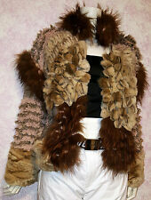NEW FENDI EXOTIC SHEARED ROSETTES CHINCHILLA MINK FOX PATCH KNITTED COAT 40/6