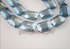 10pcs Blue Transparent Glass Crystal Rectangle Spacer Beads 18x12mm Findings