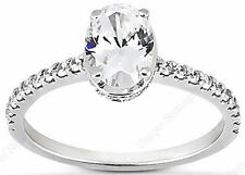 1 carat Oval with Round DIAMOND 14k Gold Engagement Ring 0.69 ct Oval I-J VS