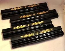SET of 4 BLACK LACQUERED WOODEN 'DRAGON DESIGN' MAHJONG / MAH JONG RACKS CHINESE