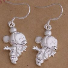 FREE GIFT BAG 925 Solid Sterling Silver Disney Mickey Mouse Drop Dangle Earrings