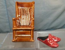 """Vintage Rocking Chair (3.5"""" tall) & Shoes Slippers Salt & Pepper Shakers"""
