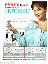 PUBLICITE ADVERTISING 1016  1963  la ligne Hotesse plats en Pyrex
