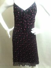 Betsey Johnson Black Slip Dress Size 8 with Pink Embroidered Flowers