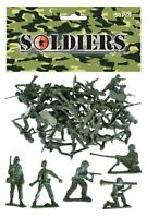 BAG OF 50 GREEN PLASTIC TOY SOLDIERS ARMY COMBAT PLATOON STORY PARTY FILLER 035