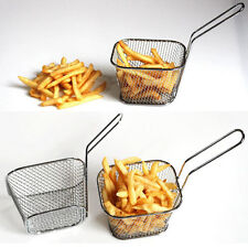 Stainless Steel Mini Chip Fryer Serving Food Presentation Frying Basket Kitchen