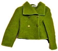 Double Breasted Coat Virgin Wool Jacket Green 4T Magil Italy Italian