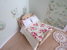 Miniature 1/12th scale dolls house BEDDING SET double cream/pink roses Eiderdown