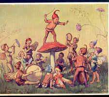 """ELFIN CHORUS"" MUSICAL FAIRY CONDUCTOR DIRECTS BAND,PIXIES,ELF,TARRANT POSTCARD"