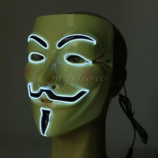 El Wire Light Up LED V For Vendetta Anonymous Guy Fawkes Costume Cosplay Mask