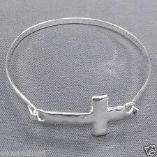 Rhodium Silver Hammered Cross Religiously Inspired Simple Bangle Bracelet
