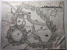 ORIGINALE 17th 18th SECOLO mappa o Piano della città fortificata di LILLA (Lilla).