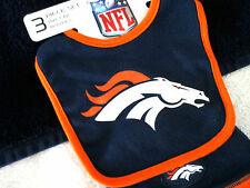 NFL DENVER BRONCOS BIB HAT BABY BOOTIES SOCKS 3 PIECE INFANT 0 - 6 MONTHS NWT