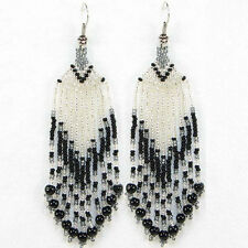 SEED BEADED BLACK SILVER COLOR HANDMADE EARRINGS