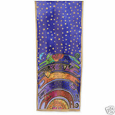 Laurel Burch 100% Silk Oblong Scarf Once In A Blue Moon Bright Cats New