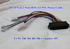 20P ATX to 2-Port 6Pin AT PSU Converter Power Cable for 286 386 486 586 Computer