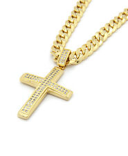 Mens 14k Gold Plated 2Line Fully Cz Cross Pendant 24'' Inch Cuban Necklace Chain