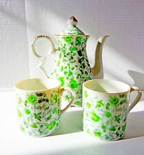 Vintage Japanese Floral Porcelain 3-Piece Teapot Tea Set. Made in Japan.