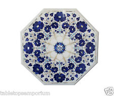 "Size 18""x18"" Marble Coffee Table Top Lapis Lazuli Inlay Mosaic Christmas Decor"