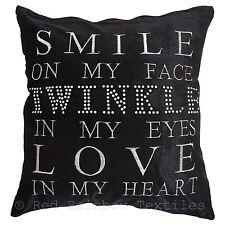 Twinkle Heart Black Sparkle Crystal Velvet Bling 17 Inch Cushion Cover
