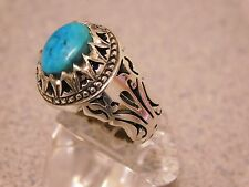 COSTUME DESIGN CARVE CUT HAND MADE MEN'S SILVER RING WITH BLUE TURQUOISE