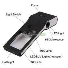 6 in 1 LED Pocket Magnifier 3X 10X magnifier 55X Microscope UV Light Lamp BEST