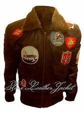 Tom Cruise Pete Maverick Top Gun Flight Bomber Jacket w Real Fur SHEEP LEATHER