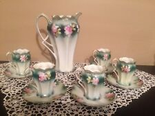 RS PRUSSIA Pitcher Chocolate Coffee Pot 5 Demitasse Cups Saucers
