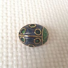 Vintage Gold Tone Blue and Green Enamel Bug Insect Pin Brooch Signed Fibe