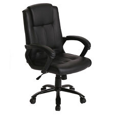 Black PU Leather Ergonomic Office Executive Computer Desk Task Office Chair T30