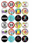 """24 x Happy 18th Birthday 1.5"""" PRE-CUT PREMIUM RICE PAPER Edible Cake Toppers"""