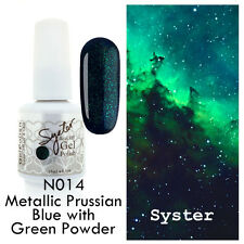 SYSTER 15ml Nail Art Soak Off Color UV Gel Polish N014 - M. Blue w Green Powder