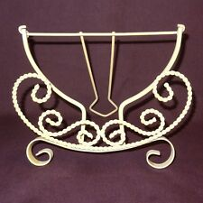 """Metal Scroll Table-top Plate Stand Display Decorative Holder Cream Color 7"""" High"""