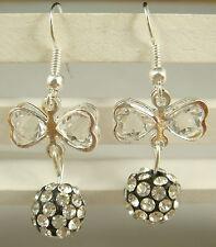 1pair butterfly 925 earrings silver pendant earrings Shambhala charm bead aq4d