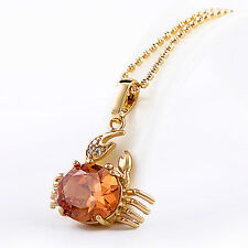 18k Gold GF Crab Pendant Necklace with Champagne Cubic Zirconia Astrology Cancer