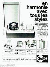 PUBLICITE ADVERTISING 126  1964  Claude   étéctrophone super coffret  stéréo